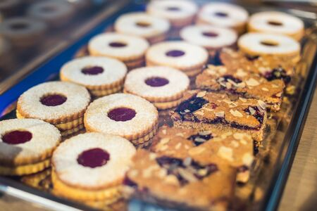 nutritiously: Closeup of a mix of sweet cookies with jam and cereal