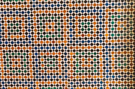mosaic floor: Marrakesh, Morocco - February 8, 2015:Geometric shape handmade mosaic floor in Bahia Palace. Editorial