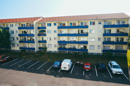 habitable: Modern block of flats and parking in Maintal, Germany