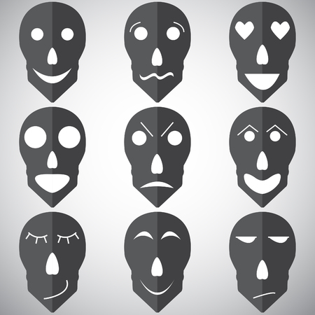 insulted: Vector set of emotions mask