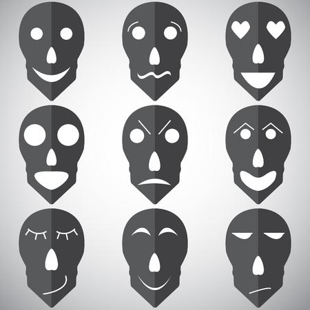 suspicious: Vector set of emotions mask