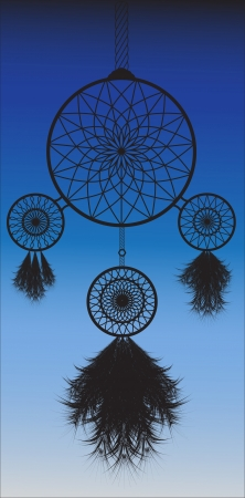 monochromic: Black monochromic dreamcatcher vector image in night background Illustration