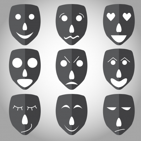 Theater mask emotion set vector in white background Vector
