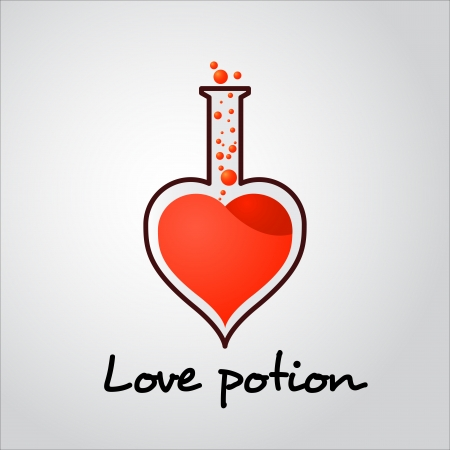Love potion tube with bubbles illustration for valentines day