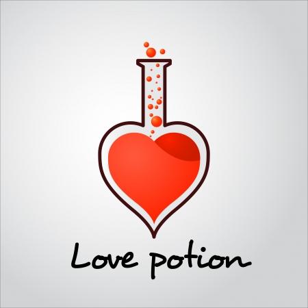 pocion: Tubo de la poci�n de amor con burbujas de ilustraci�n para el d�a de San Valent�n