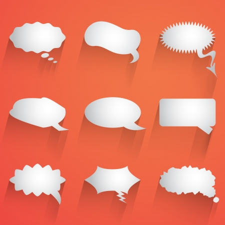 flat speech bubble icon with long shadow set Vector