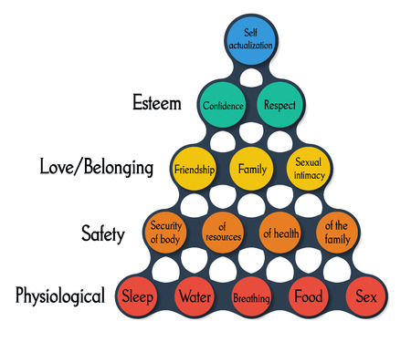 Illustration of Metaball template maslow pyramid colorful round diagram infographics for presentations
