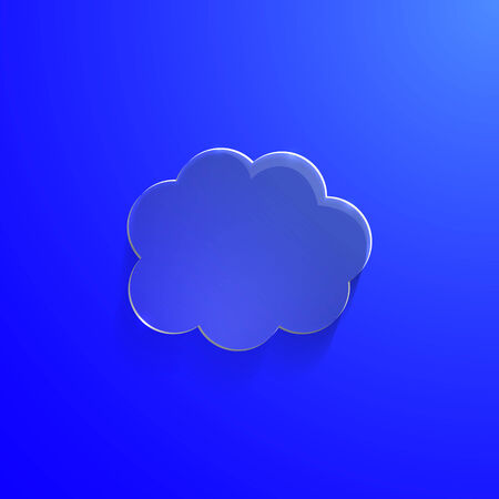Illustration of blue eco glossy glass cloud icon vector illustration Vector