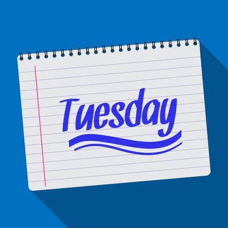 Illustration of Spiral calendar tuesday notebook notepad long shadow Illustration