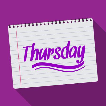 spiral notebook: Illustration of Spiral calendar thursday notebook notepad long shadow