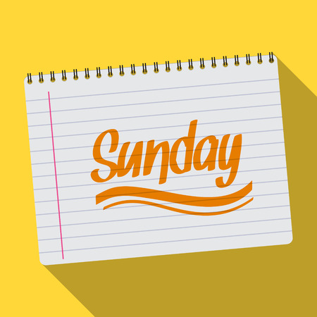 Illustration of Spiral calendar sunday notebook notepad long shadow
