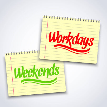 spiral notebook: Illustration of Realistic spiral weekends workdays notebook notepad