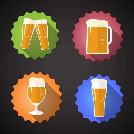 Illustration of Beer Glass Set Flat icon Vector