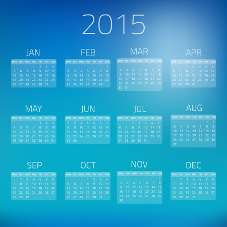 bussiness time: Illustration of Summer Gloss Calendar 2015 background