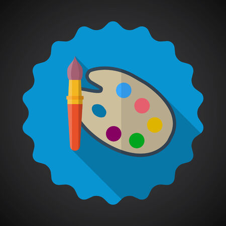 pallete: Illustration of Designer Color Pallete Flat Vector Icon with long shadow