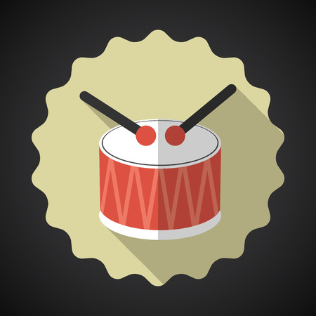 snare: Illustration of Music Snare Drum with Sticks Flat Icon Illustration