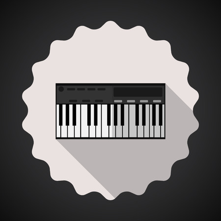 synthesizer: Illustration of Music Keyboard Composer MIDI Synthesizer Flat Vector Icon