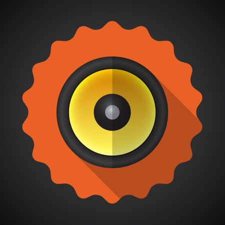 sound system: Ilustraci�n de la m�sica del altavoz Sound System Icono vectorial Flat Vectores