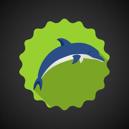 Illustration of Summer Travel Sea Dolphin flat vector icon Vector