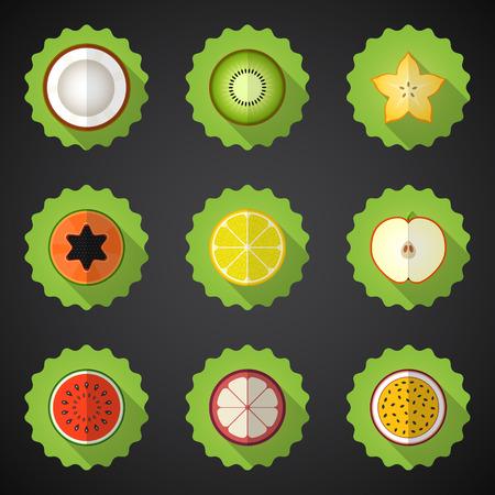 Illustration of Fruit Flat Icon Set.  Vector