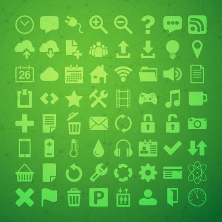 Illustration of 64 Universal Flat Icon  向量圖像