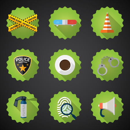 Illustration of Police Sequrity Flat Icon Set. Vector