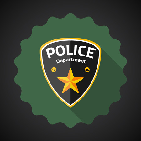 Illustration of Police Badge Flat icon  Vector