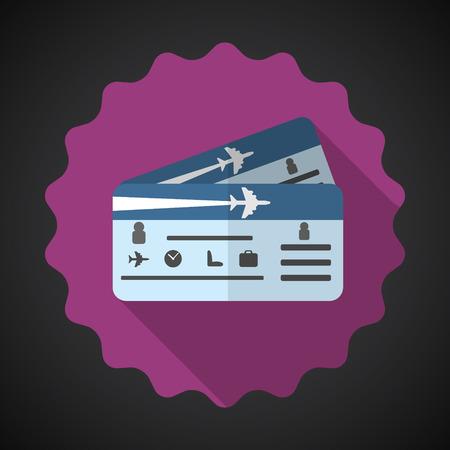 여행 비행기 티켓의 그림 평면 아이콘 일러스트