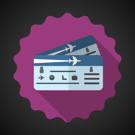 Illustration of Travel Airplane Tickets Flat icon  向量圖像
