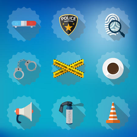 Illustration of Police Sequrity Flat Vector Icon Set. Include road cone, barricade tape, police badge, car alarm, fingerprint etc.