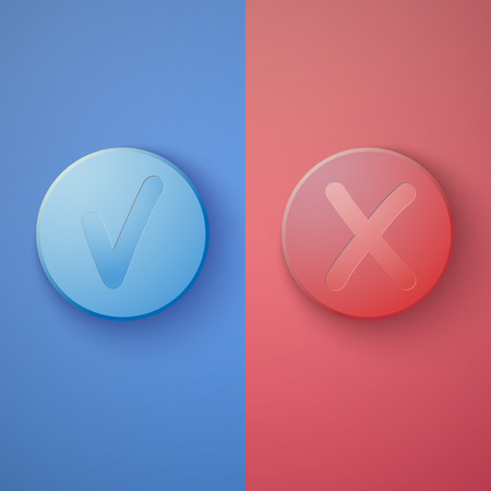 yes no: Illustration of Web Infographic OK Cancel or Yes No Colorful Buttons   Illustration