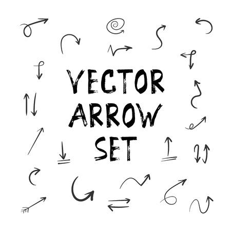 Illustration of Grunge Sketch Handmade Watercolor Doodle Arrow Set Illustration