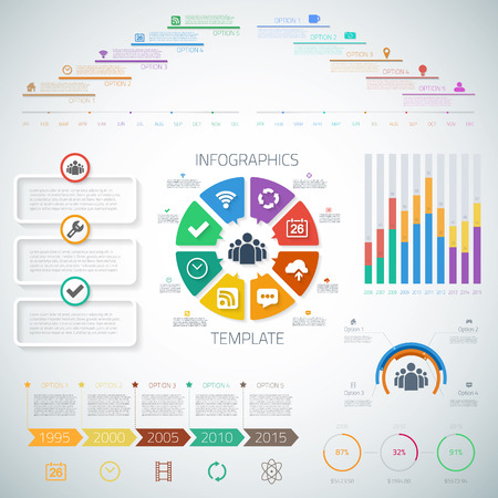articles: Illustration of Huge Timeline Infographics Set with diagrams, pie charts, icons for Presentations, web articles etc.