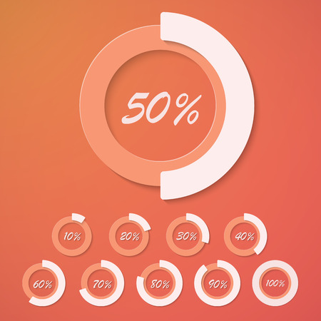 bussiness time: Illustration of Set of Infographic Diagram Percent Circles, Discount Sale Badges for web promotion, presentations etc