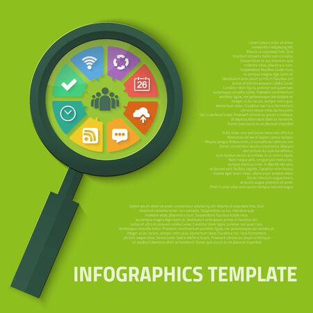 Illustration of Magnifier Zoom Tool with Vector Icons Inside which can be used as Infographic Template