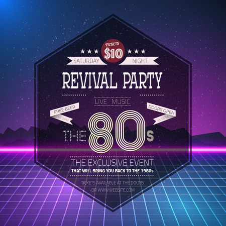Illustration of Retro 1980s Revival Vintage Party Poster Neon Flyer Background made in Tron style