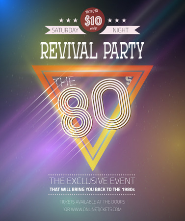 Illustration of Retro Disco 80s Neon Poster made in Tron style with Triangles, Flares, Partickles