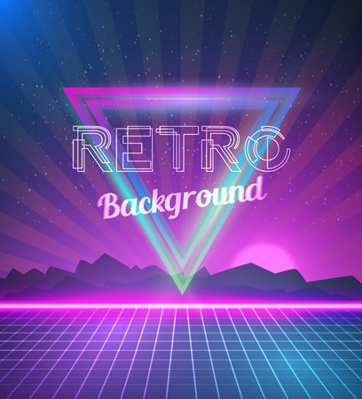 dj: Illustration of Retro Disco 80s Neon Poster with Triangles, Flares, Partickles