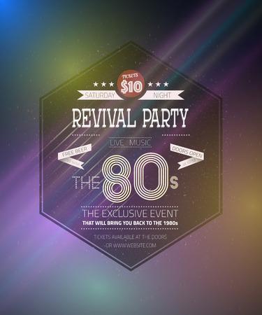 Illustration of Retro 1980s Revival Vintage Party Poster Neon Flyer Background  Illustration