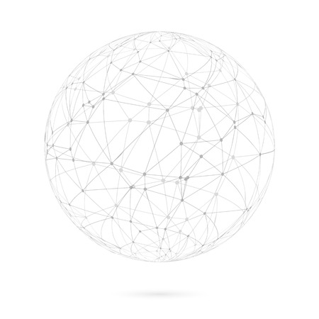 Illustration of Global Network Lines with Dots Connection Vector Background Çizim