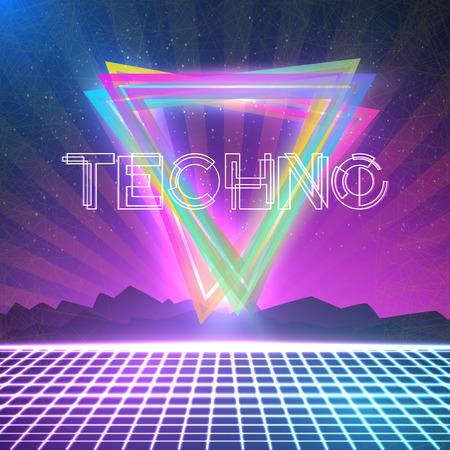 Illustration der abstrakten Techno 1980er Jahre-Stil Hintergrund mit Triangeln, Neon Grid. Plakat für Partei, Nachtclub usw.