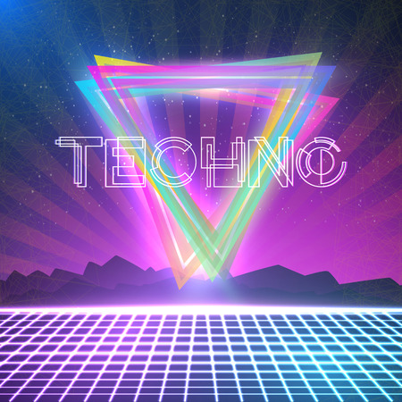 Illustration of Abstract Techno 1980s Style Background with Triangles, Neon Grid. Poster for Party, Night Club etc