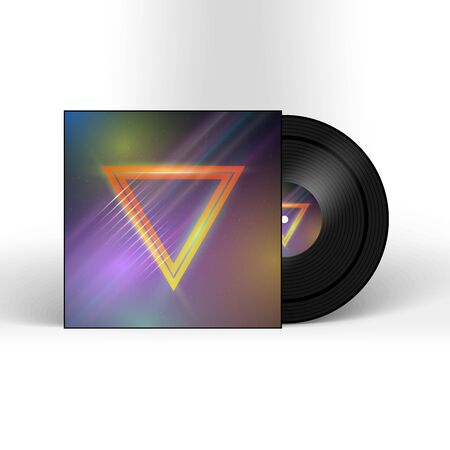 record cover: Illustration of Retro Vinyl Record 1980s Style Cover with Neon Lights and Abstract Triangles. Music Album Cover Template