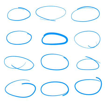 freehand: Illustration of Handdrawn Vector Sketch Circle Set, could be used as Speach Bubble, Highlighter Illustration