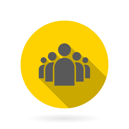 Illustration of Flat Group of People Icon Vector Symbol Background Çizim