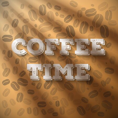 comming: Illustration of Morning Coffee Time Phrase with Sun shine Flares Comming from Window on a Wooden Coffie Pattern Background