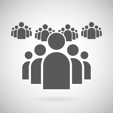 Illustration of Flat Group of People Icon Vector Symbol Background 일러스트