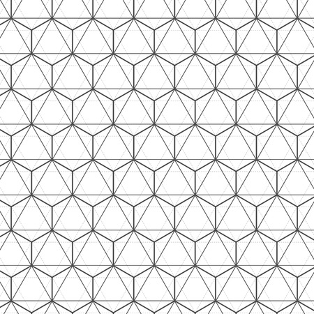 Illustration of Seamless Geometric Lines Black and White Hexagon Vector Pattern Background. Vettoriali