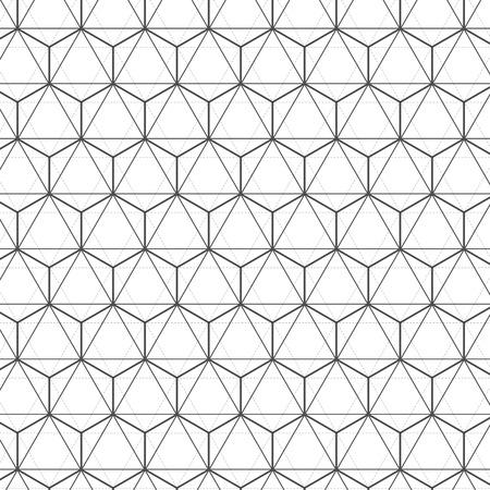 Ilustracja Bezproblemowa geometryczny Lines czerni i bieli sześciokątny wzór wektora tle.