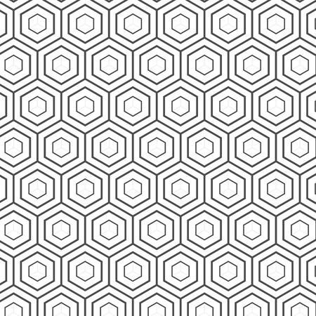 Illustration of Seamless Geometric Lines Black and White Hexagon Vector Pattern Background. 일러스트